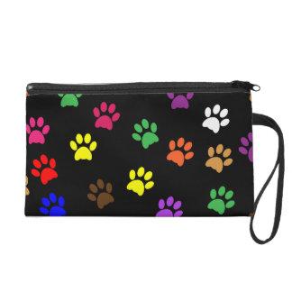 Paw prints dog pet fun colorful cute pawprints wristlet clutch