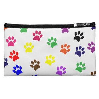 Paw prints dog pet fun colorful cute pawprints makeup bags