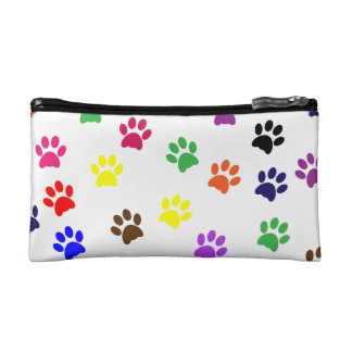 Paw prints dog pet fun colorful cute pawprints makeup bag