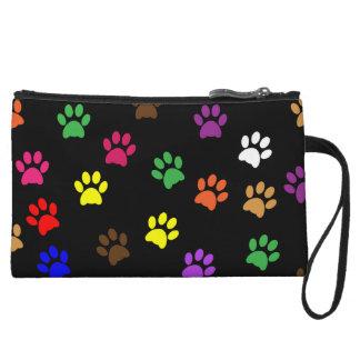 Paw prints dog pet fun colorful cute pawprints wristlet purse