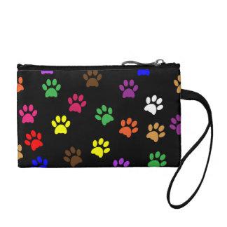 Paw prints dog pet fun colorful cute pawprints change purse