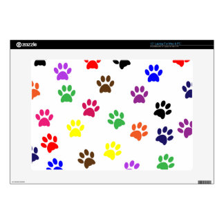 "Paw prints dog pet fun colorful cute pawprints 15"" laptop decal"