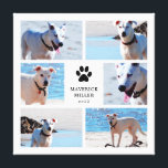"""Paw Prints - Dog Photo Collage<br><div class=""""desc"""">Beautiful canvas print featuring a collage of six dog photos around a black paw print and your dog&#39;s name and the year.</div>"""