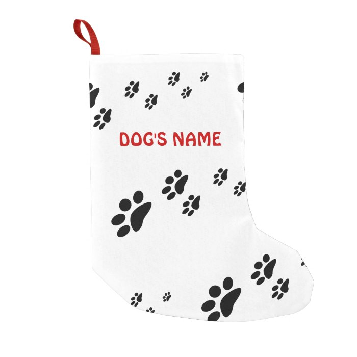 Paw prints dog small christmas stocking zazzle