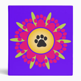 Paw Prints Flower 3 Ring Binder