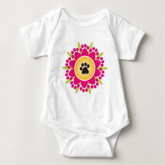 Paw Prints Flower Baby Bodysuit