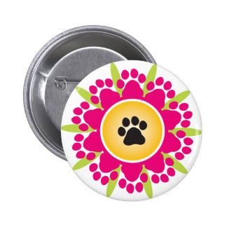 Paw Prints Flower Button