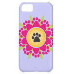 Paw Prints Flower Case For iPhone 5C