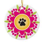 Paw Prints Flower Ceramic Ornament