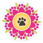 Paw Prints Flower Classic Round Sticker
