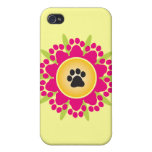 Paw Prints Flower iPhone 4 Case