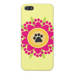 Paw Prints Flower Case For iPhone SE/5/5s