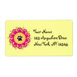 Paw Prints Flower Label