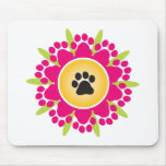 Paw Prints Flower Mouse Pad