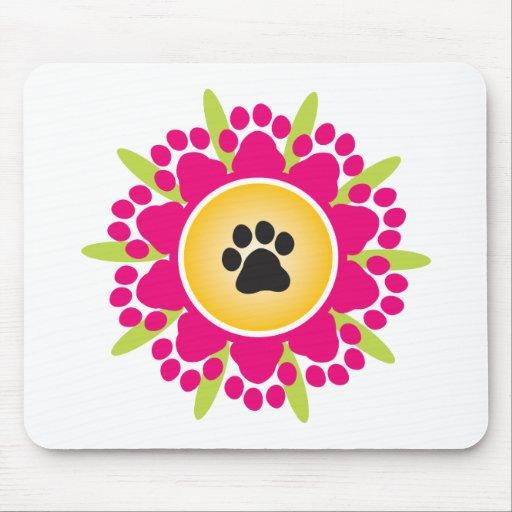 Paw Prints Flower Mousepads