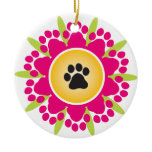 Paw Prints Flower Ornament
