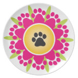 Paw Prints Flower Plate