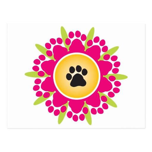 Paw Prints Flower Post Card