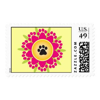 Paw Prints Flower Postage Stamp