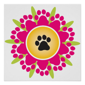 Paw Prints Flower Poster