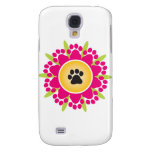 Paw Prints Flower Samsung Galaxy S4 Cover