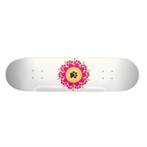 Paw Prints Flower Skate Board Decks