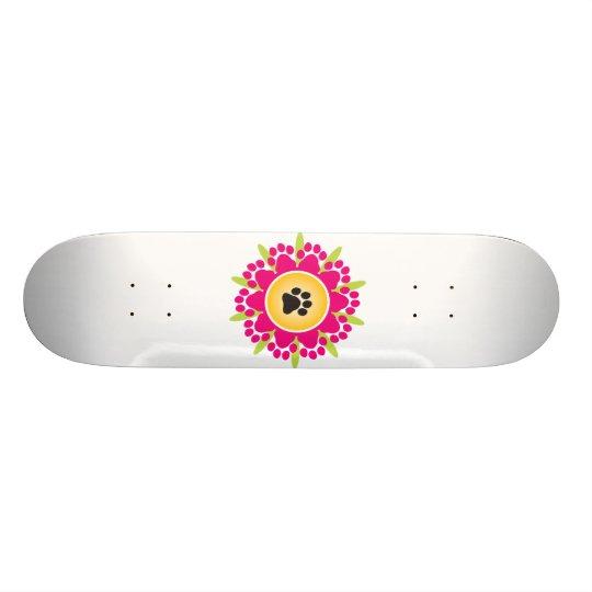 Paw Prints Flower Skateboard Deck