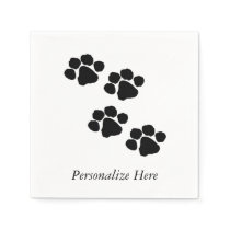 Paw Prints For Animal Lovers Paper Napkin