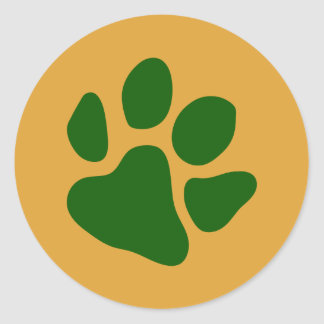 Paw Prints Green Classic Round Sticker