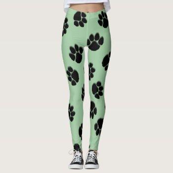 Paw Prints Green Leggings