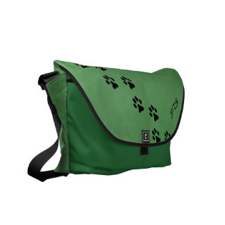 Paw Prints Green Textured Monogram Messenger Bag