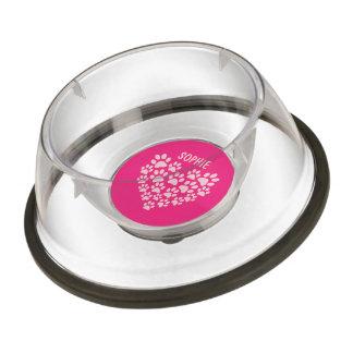 Paw Prints heart shaped pink custom name dog bowl Pet Bowl
