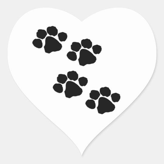 Paw Prints Heart Sticker