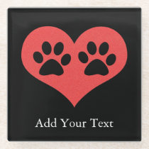 Paw Prints In My Heart by Shirley Taylor Glass Coaster