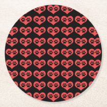 Paw Prints In My Heart by Shirley Taylor Round Paper Coaster