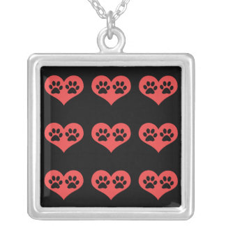 Paw Prints In My Heart by Shirley Taylor Square Pendant Necklace