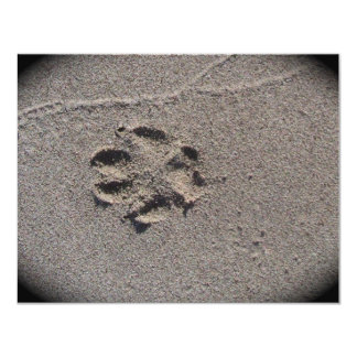 Paw Prints in Sand 4.25x5.5 Paper Invitation Card