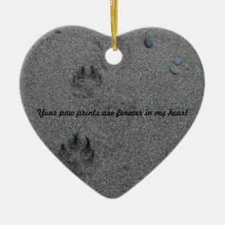 Paw Prints in the Sand Pet Memorial Ceramic Ornament