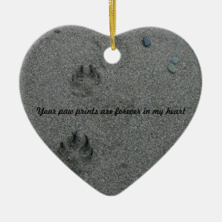 Paw Prints in the Sand Pet Memorial Double-Sided Heart Ceramic Christmas Ornament