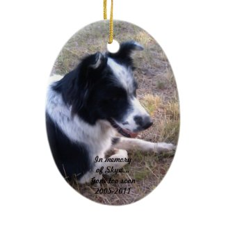 Paw Prints in the Sand Pet Memorial Double-Sided Oval Ceramic Christmas Ornament