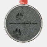 Paw Prints in the Sand Pet Memorial Ornament