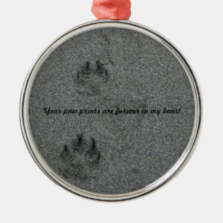 Paw Prints in the Sand Pet Memorial Round Metal Christmas Ornament