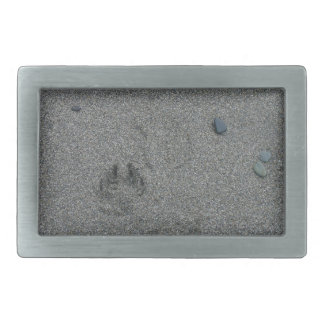 Paw Prints in the Sand Rectangular Belt Buckles