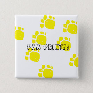 Paw prints in yellow text paw prints customize it pinback button