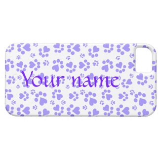 Paw prints lilac - Add text or Add name iPhone SE/5/5s Case