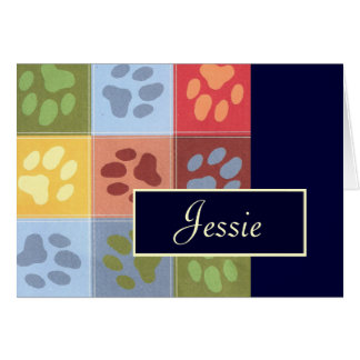 Paw Prints Note Card with Name
