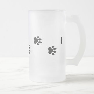 Paw prints of a cat frosted glass beer mug