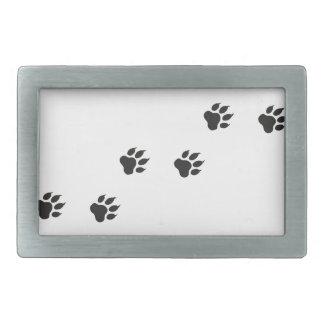 Paw prints of a cat rectangular belt buckle