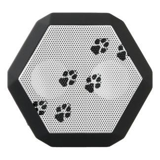Paw prints of a dog black bluetooth speaker