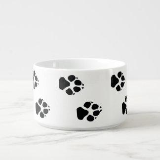 Paw prints of a dog bowl